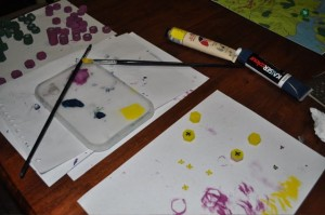 Painting home made wooden board game pieces